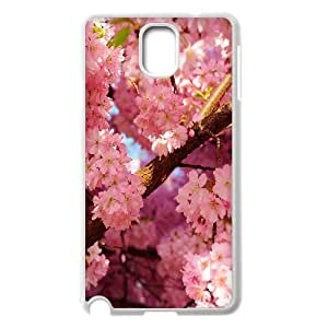 Samsung Galaxy Note 3 Cases, Pink Cherry Flowers Printed Cases for Samsung Galaxy Note 3 {White}
