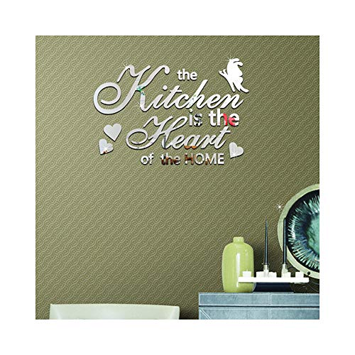- Creative Personalized English Letters Design Wall Stickers DIY 3D Acrylic Mirror Effect Wall Decals Home Decoration The Kitchen is The Heart of The Home
