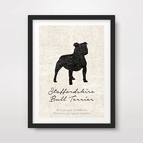 STAFFORDSHIRE BULL TERRIER STAFFY DOG ART PRINT POSTER Breed Silhouette Home Decor Wall Picture A4 A3 A2 (10 Sizes)