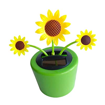 COMFORT INNOVATION Solar Powered Dancing Flowerpot Home Car Ornament Kids Toy Sunflower: Garden & Outdoor