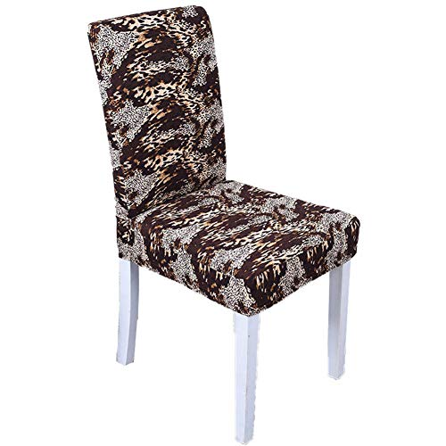 Cratone Elastic Chair Cover Dining Chair Covers Washable Removable Seat Cover Stretch Spandex Chair Cover Dining Room Protector Slipcovers with Fashion Pattern Chair Decor Size 42-58CM (Leopard)