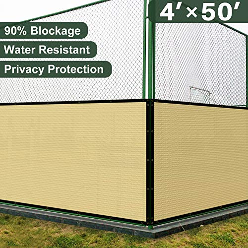 Coarbor 4' x 50' Privacy Fence Screen with Brass Grommets Heavy Duty 140GSM Pefect for Outdoor Back Yard Patio and Deck Beige