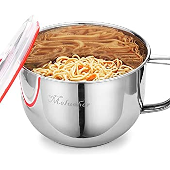 Stainless Steel Ramen Noodle Soup Pasta Bowl and Induction Cooker directly with Handle&Lid,6.4 Ounce by Meluoher