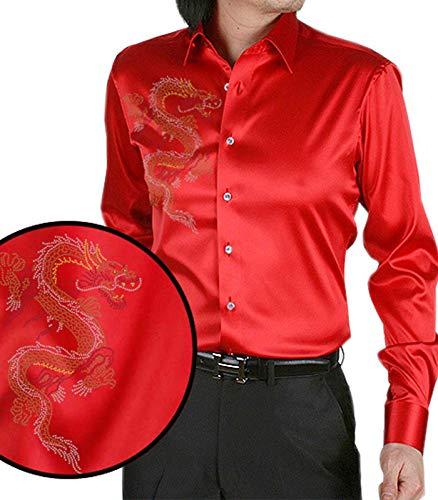 Nidicus Mens France Vintage Silk Like Satin Beaded Dragon Dress Shirt Red Slim 180 M