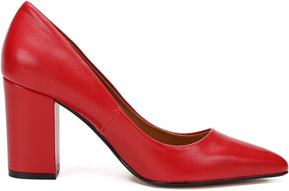 Unisex Mens Womens Point Toe High Block Heel Pumps Slip On Court Shoes Large Size