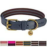 """Blueberry Pet Vintage Staple Striped Soft Genuine Leather and Polyester Dog Collar in Noir Grey and Burgundy, Small, Neck 12""""-15"""", Adjustable Collars for Dogs"""