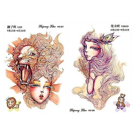 12 hojas constelación tatuaje adhesivo temporal resistente al agua ...