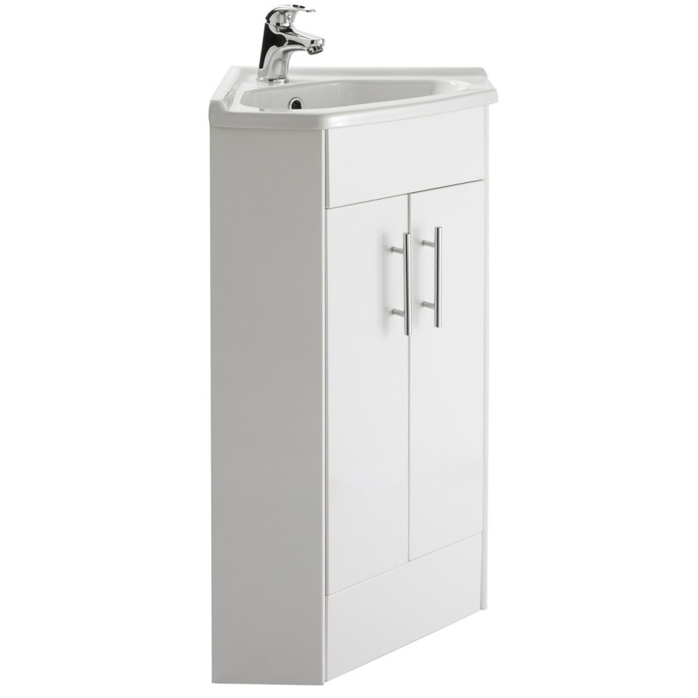 Premier Nvc180a 555 Mm High Gloss 2 Door Corner Mayford Vanity Unit And  Basin  White: Homebathroom: Amazon: Diy & Tools