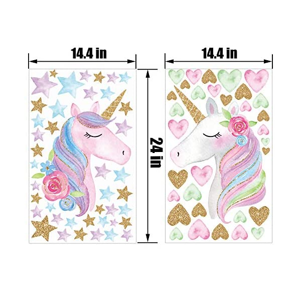 2 Sheets Large Size Unicorn Wall Decor,Removable Unicorn Wall Decals Stickers Decor for Gilrs Kids Bedroom Nursery… 9