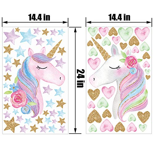 2 Sheets Large Size Unicorn Wall Decor,Removable Unicorn Wall Decals Stickers Decor for Gilrs Kids Bedroom Nursery… 6