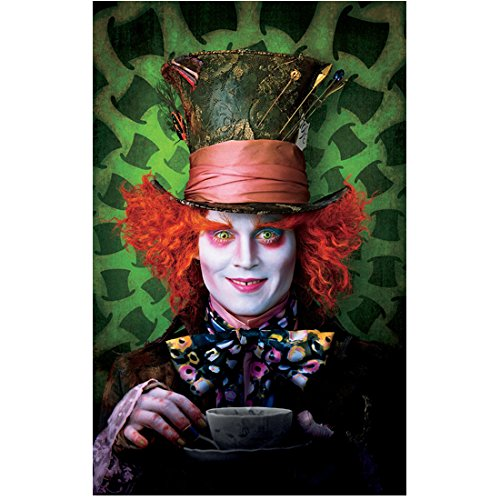 (Alice in Wonderland Johnny Depp as Mad Hatter with teacup with hat background 8 x 10 Inch)