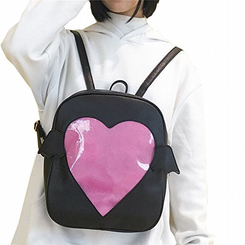 Girls Backpacks Cute Candy Leather Wing Backpack Transparent Love Heart Schoolbags Ita Bag Jelly Daypack (Black)