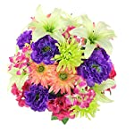Admired-By-Nature-GPB7357-PURBTKW-Faux-Ranunculus-Lily-Hydrangea-Mixed-Flower-Bush