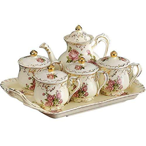 (Luxury Mug Set European Creative Ceramic Luxury Tea Set 1 Pot 4 Cups 4 Spoons 4 Cups Cover Multi-Function Coffee Decoration Gift)