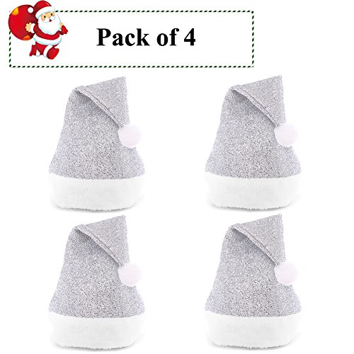 (Christmas Hat Sequins Santa Hats for Adults Christmas Gift Xmas Party Decorations by Lesirit, Pack of 4 (Silver))