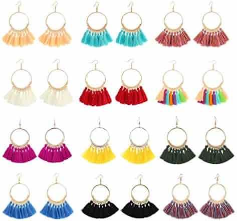LANTAI 8-12 Pairs Bohemian Colorful Long Fringe Tassel Earrings Set—3 Layer Fan Tassel Hoop Earrings for Women Girls Gift Statement Earrings