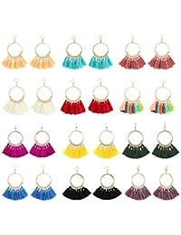 8-12 Pairs Bohemian Colorful Long Fringe Tassel Earrings Set—3 Layer Fan Tassel Hoop Earrings for Women Girls Gift Statement Earrings