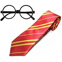 Striped School Tie with Novelty Glasses Frame Costumes Accessories for Halloween Christmas Cosplay and Thanksgiving Gift (Yellow with Red)