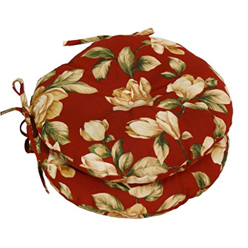 OUTDOOR Red Floral BISTRO CHAIR CUSHIONS Set of 2 Round 15-Inch Furniture New Seat Pad - New Style Seat Pad
