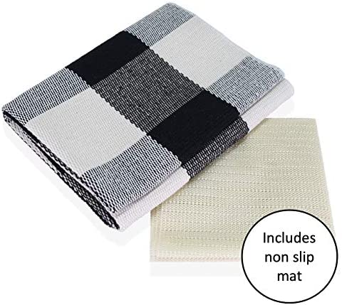 STAARROW Buffalo Plaid Rug in Black and White Comes with Anti-Slip Mat – Cotton Buffalo Check Outdoor Rug, Farmhouse Rug for Front Porch Decor, use Under Door mats, Welcome mats, 23.6 x 51.1 inches