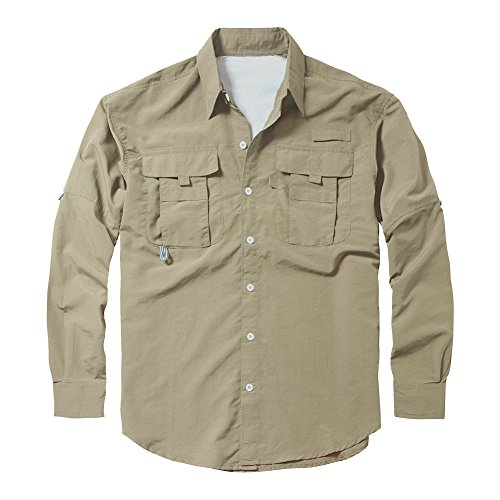 Men's Outdoor Quick Dry Sun UV Protection Nylon Long Sleeve Hiking Fishing Shirts
