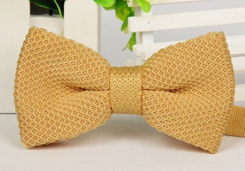 Plain Knitted Knit Woven Jacquard Tie D Pale Double berite Layer Bow Bowties Polyester Men's Yellow XqwIxqSC7