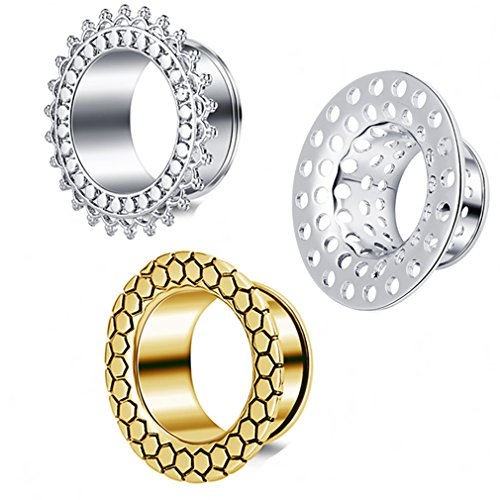 TIANCI FBYJS 3 Pair Ear Tunnels Gauges Woman Men Piercing Flare Earring Stretcher Expander Ear Plug Tunnel Kit (12mm=1/2'') 1/2' Mens Ring