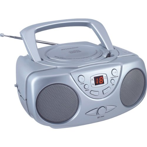 Sylvania SRCD243 Portable CD Player with AM/FM Radio, Boombox (Silver) (Cd Player Portable Coby)