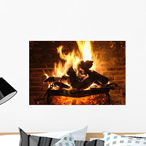 Wallmonkeys Fireplace and Amber Wall Mural Peel and Stick Graphic (24 in W x 16 in H) WM118832 by Wallmonkeys