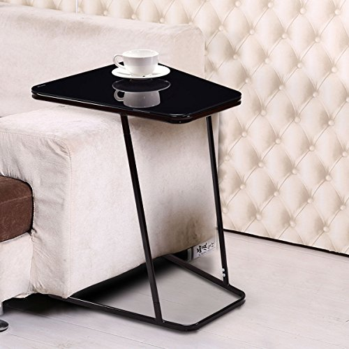 Tangkula Snack Table Home Glass Top Metal Frame Sofa Side End Table C shaped Table (1 piece) (Sofa Round Glass)
