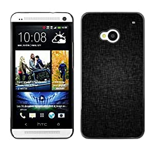 PC/Aluminum Funda Carcasa protectora para HTC One M7 Black Grey Background Fabric Pattern Structure / JUSTGO PHONE PROTECTOR