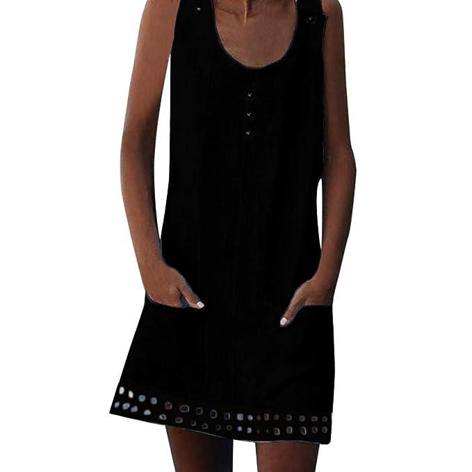d21f9e5eb14e Summer Loose Linen Sleeveless Dresses for Women Casual Retro Buttons O-Neck  Pockets Boho Mini T-Shirt Dress Vestidos Party Beach Sundress Tunic Tops  Plus ...