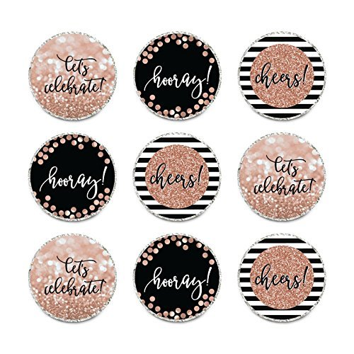 Hersheys Kisses Party Favors Not Real Glitter Cheers to 16 Years Sweet 16 16th Birthday or Anniversary 240-Pack Andaz Press Glitzy Faux Rose Gold Glitter Milestone Chocolate Drop Labels