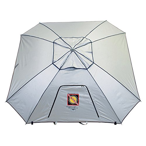 RIO BEACH 8 Ft. Extreme Shade Total Sun Block Beach Umbrella Shelter w/Window and Anchor – Silver