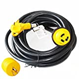 X-Haibei RV Trailer Extension Power Cord With Twist Lock 25ft Foot 30 Amp Finger Grip Handle 10/3 STW w/15A Male to 30A Female Power Adapter