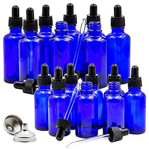 16 Cobalt Blue Glass Dropper Bottles for Essential Oil, 8 pack (1 oz) Blue Bottles With Glass Eye Dropper, 8 pack (2 oz) Blue Bottles With Glass Eye Dropper, with 2 Free Stainless Steel Mini Funnels ()