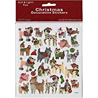 Tattoo King SK129MC-1512 Christmas Dogs Stickers, Multicolor
