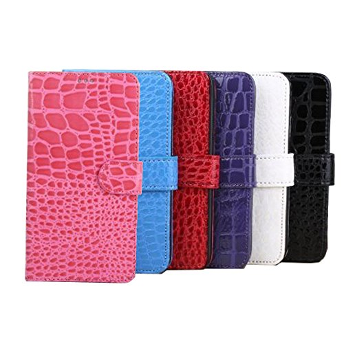 (Idol Crocodile Pattern Phone Case Premium PU Leather Flip Wallet Phone Folio Case with Card Slots for Samsung Galaxy S5 (Purple))
