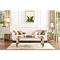 Elegant 3 Easy-to-convert Positions Vintage Tufted Sofa Sleeper II, Pink Velour