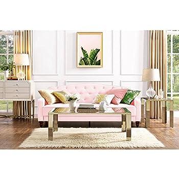 Elegant 3 Easy To Convert Positions Vintage Tufted Sofa Sleeper II, Pink  Velour