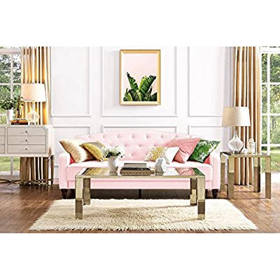 Elegant 3 Easy-to-convert Positions Vintage Tufted Sofa Sleeper II, Pink Velour -  - sofas-couches, living-room-furniture, living-room - 51kUI1zPOEL. SS400  -
