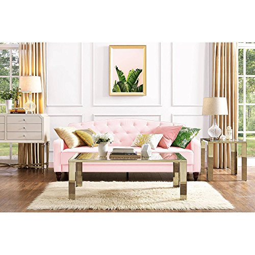 Elegant 3 Easy-to-convert Positions Vintage Tufted Sofa Sleeper II, Pink Velour