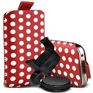 Samsung I9500 Galaxy S4 Protección Premium Polka PU ficha de extracción Slip Cord En cubierta de bolsa Pocket Skin rápida con el sostenedor 360 giratorio del parabrisas del coche cuna Red & White por Spyrox