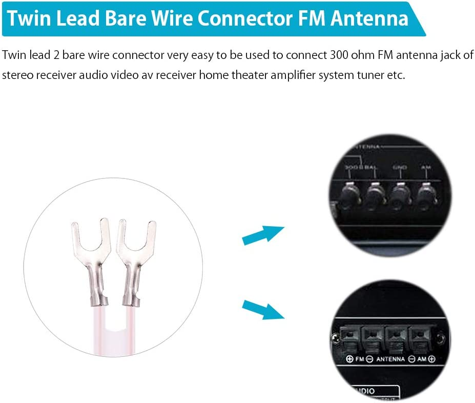Fancasee FM Antenna Dipole 300 Ohm 2 Pin Twin Lead Bare Wire Connector Adapter Cable FM Antenna for Stereo Receiver Audio Video AV Receiver Home Theater Amplifier System Tuner Indoor
