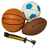 Active Kyds Sports Ball Set: Football, Soccer Ball, and Basketball with Hand Pump