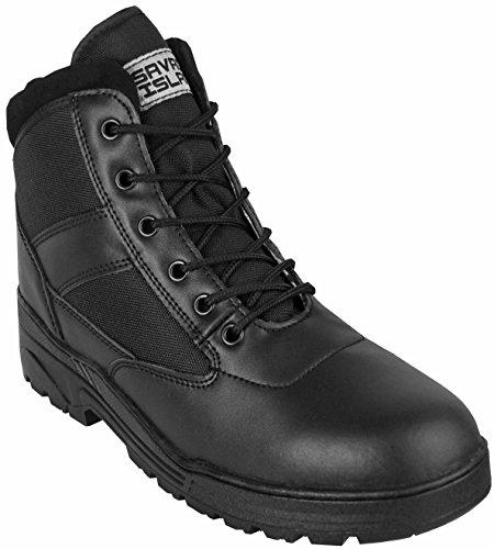 Anfibi in pelle nera altezza media combattimento pattuglia cadetto esercito sicurezza Venta 100% Originales ShGznqP