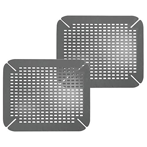 (mDesign Adjustable Kitchen Sink Dish Drying Mat/Grid - Plastic Sink Protector - Cushions Sinks, Stemware, Wine Glasses, Mugs, Bowls, Dishes - Quick Draining, Contours to Sink - 2 Pack - Charcoal Gray)