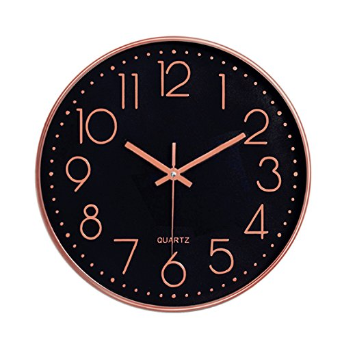 Foxtop Modern Decorative Wall Clock, Silent Non-Ticking 12 Inch Quality Quartz Battery Operated Round Easy to Read for Home Office School (Rose Gold Plastic Frame, Black Dial, Arabic Numbers)