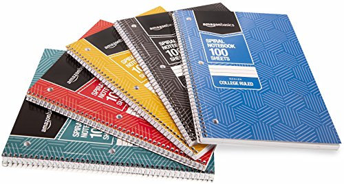 AmazonBasics College Ruled Wirebound Notebook, 100-Sheet, Assorted Sunburst Pattern Colors, 5-Pack