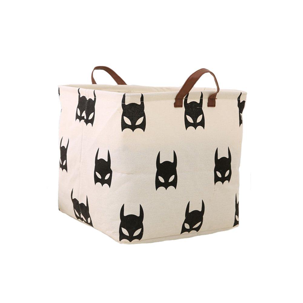 Super iMan Black&White Theme Cotton Storage Basket with Handles,Laundry Basket,Toys Organizer Basket (Batman, Cubic)